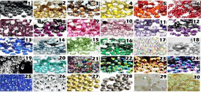 2mm Strass Cristais Chatom Gemas Resina brilhosa 1gr