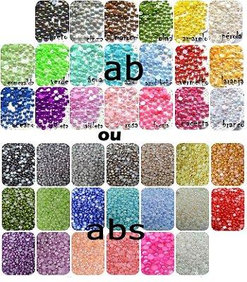 Meia pérola Chatons / Chatom Cor ABS ou AB 2mm