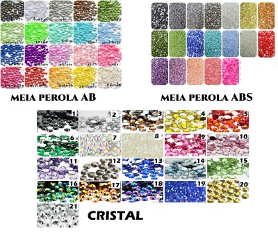 Kit Refil Meia Perola AB ou ABS Ou Cristais (2mm) 2100pçs