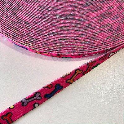 Alça de Poliéster 10mm Ossinho Pink