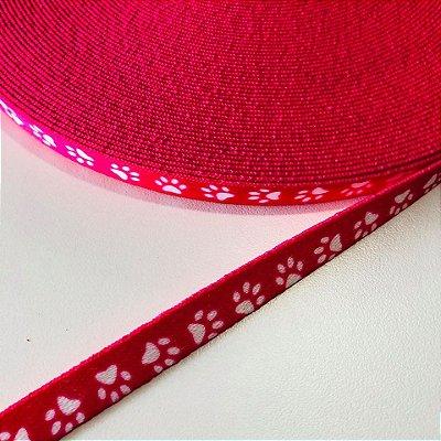 Alça de Poliéster 10mm Patinhas Pink