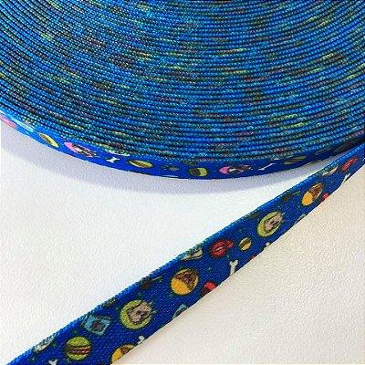 Alça de Poliéster 15mm Cachorrinhos Azul