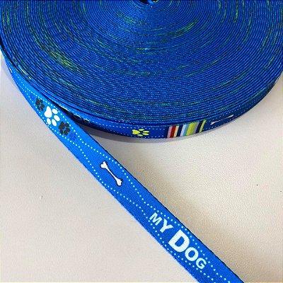 Alça de Poliéster 15mm My Dog Azul