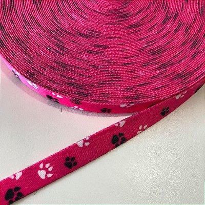Alça de Poliéster 15mm Patinhas Pink