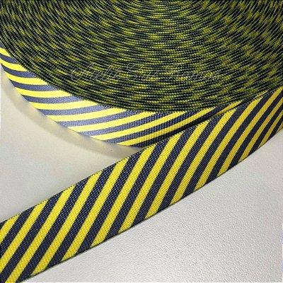 Alça de Poliéster 3cm Diagonais Cinza e Amarelo