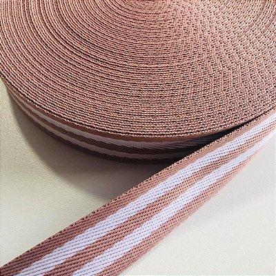 Alça de Poliéster 3cm Rosê com Branco
