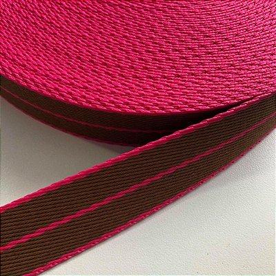 Alça de Poliéster 4cm Pink e Papelão