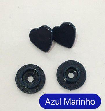Botão de Pressão Coração Azul Marinho (pct 10)