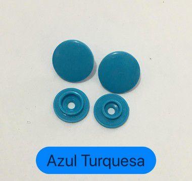 Botão de Pressão Coração Azul Turquesa (pct 10)