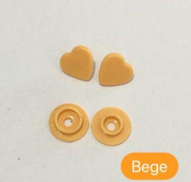 Botão de Pressão Coração Bege (pct 10)