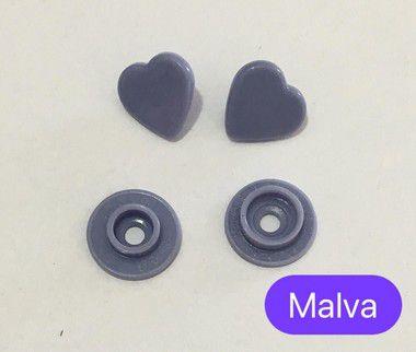Botão de Pressão Coração Malva (pct 10)