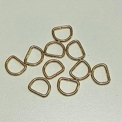 Meia argola 1cm Dourado Cataforético (pct 10)