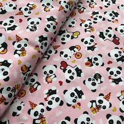 Tecido Baby Panda Rosa