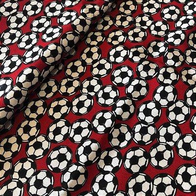 Tecido Bola de Futebol Vermelho