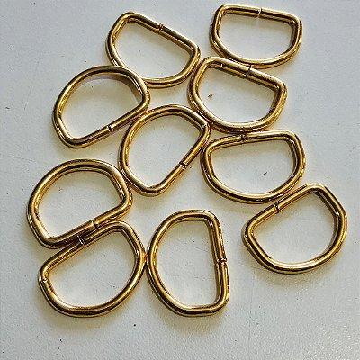 Meia argola 2cm Dourado Cataforético (pct 10)
