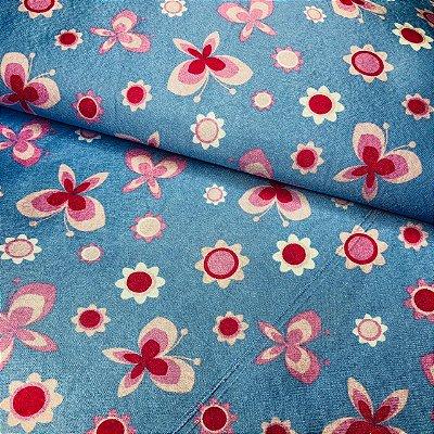 Cetim Dublado Borboleta Azul