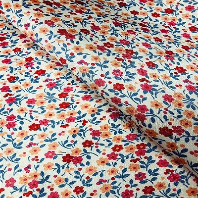 Cetim Dublado Floral Vermelho