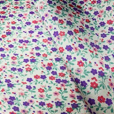 Cetim Dublado Floral Lilás