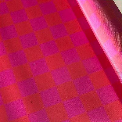 Vinil Translúcido 0,4 Xadrez Pink e Vermelho