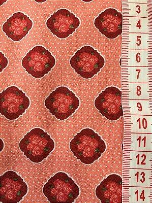 Tecido Floral Bordô - cor 1957