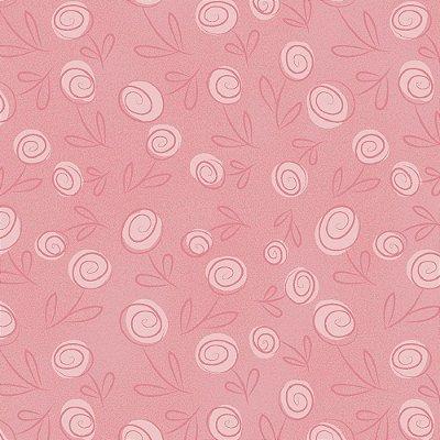 Tecido Floral Doodle Rosa Bebê