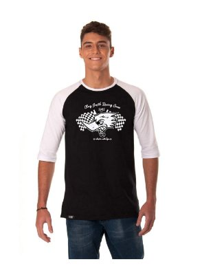 Camiseta Raglan 3/4 Longline - Pica-Pau