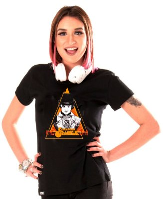 camiseta - lisa preta - feminina - Laranja Mecânica