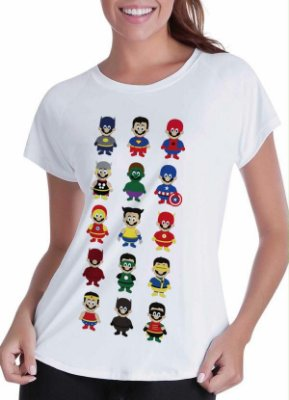 camiseta lisa branca - feminina - mario super-herói