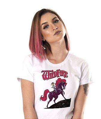 Camiseta branca - Feminina - Cavalo de fogo