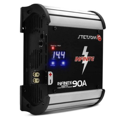 Fonte Automotiva Stetsom Infinite 90A 5000W RMS Bivolt Carregador Digital com Voltímetro LED