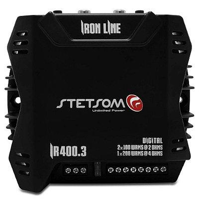 Módulo Amplificador Stetsom Iron Line IR 400.3 400W RMS 3 Canais 2 Ohm