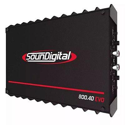 Módulo Amplificador SounDigital Sd800.4D EVO 2 800W RMS 2 Ohms