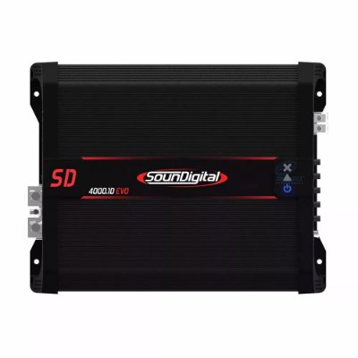 Módulo Amplificador Digital SounDigital SD4000.1D EVO II Black - 1 Canal - 4000 Watts RMS - 2 Ohms