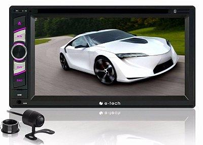 Multimídia Dvd 2 Din E-Tech Bluetooth Espelhamento + Câmera de Ré