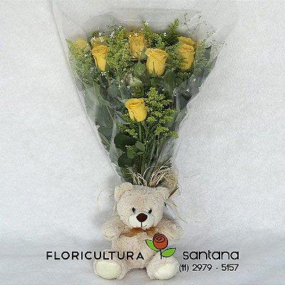 Buquê de Rosas Elegance com Pelúcia.