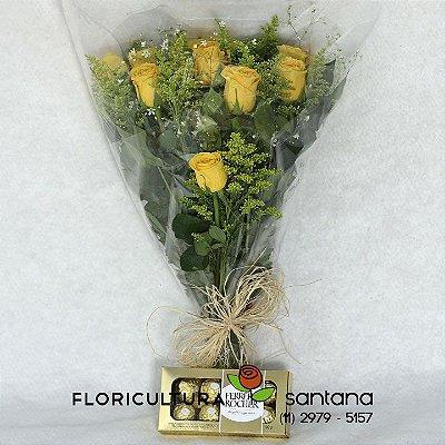 Buquê de Rosas Amarelas Elegance e Ferrero Rocher