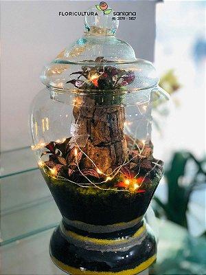 Mini Mundo Murano com Tampa de Vidro e LED