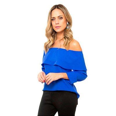 Blusa Ciganinha Manga Azul
