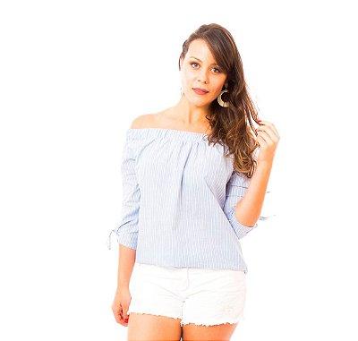 Blusa Ciganinha Nó Listras Azul