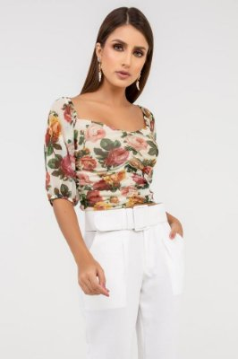 Cropped Tule Floral - Off
