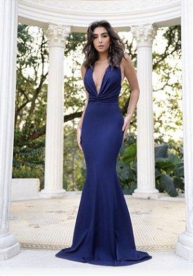 Vestido Longo Azul Marinho Lurez