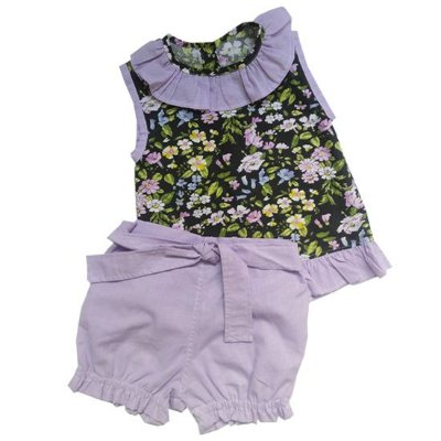 Conjunto camisa e short flores do oriente