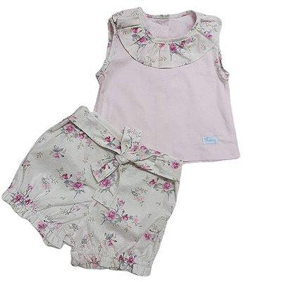 Conjunto camisa e short floral rosa linho