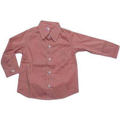 Camisa manga longa xadrez micro vermelha