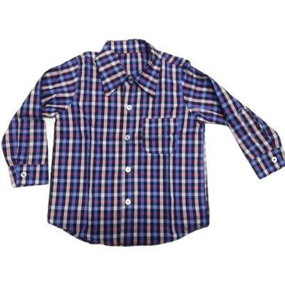 Camisa manga longa xadrez azul tartan