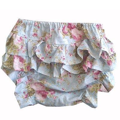 Calcinha tapa fralda floral rosa fundo azul