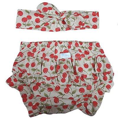 Conjunto calcinha tapa fralda com turbante cerejinhas