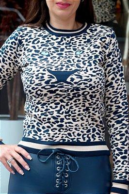 Blusa Tricot Onça Azul