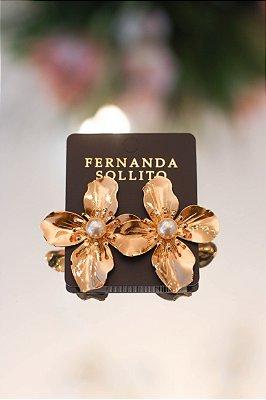 Brinco Flor Grande Dourado