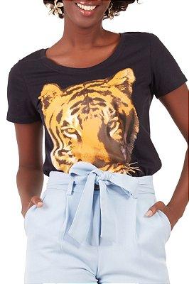 T-shirt Tiger Preta